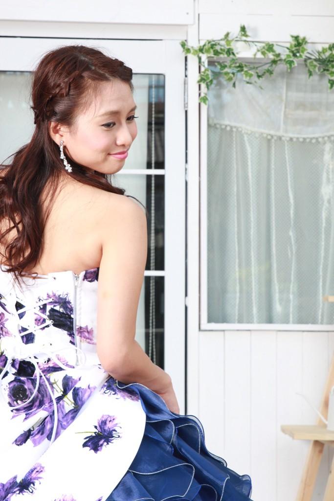 №86 プリント柄 カラードレス