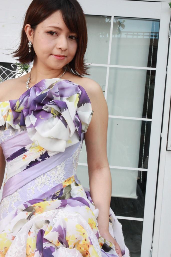 №96 プリント柄 カラードレス