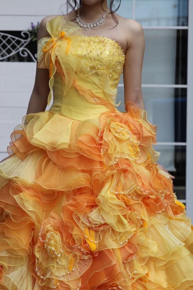 №93 オレンジイエロー カラードレス